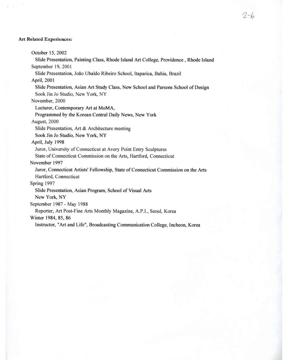 Sook Jin Jo's resume, pg 6